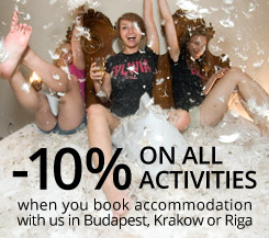 10% off on all Budapest activities if you book accommodation with us
