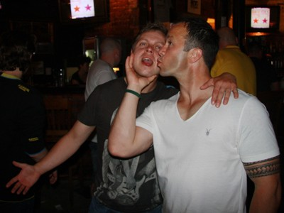 Picture of stag and best man in Krakow, bro love
