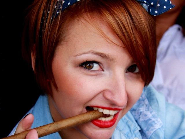 Sylwia with cigar in mouth
