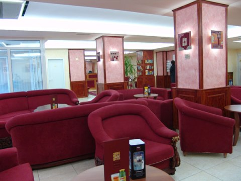 Photo of reception and waiting area in budget Budapest hotel