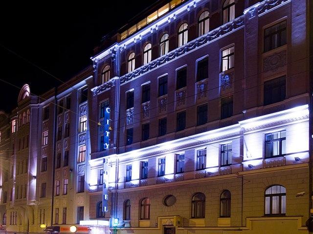 Exterior night photo of 3 star Riga hotel