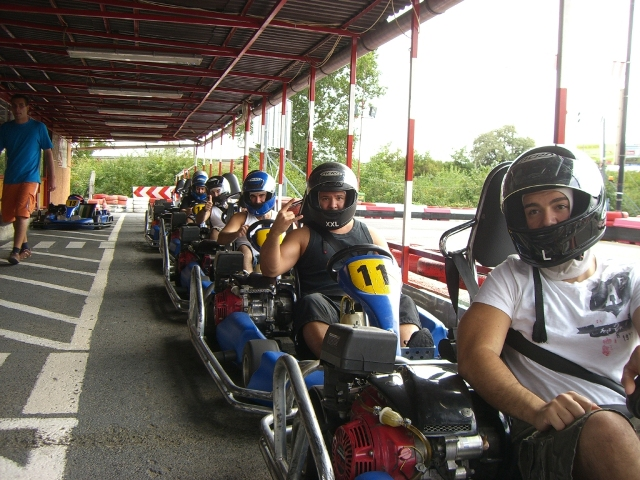 Outdoor go-karting lining up for the race
