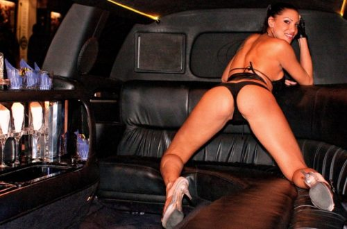 Photo of stripper in a limo