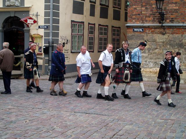 Scottish lads in kilts on a Riga pub crawl