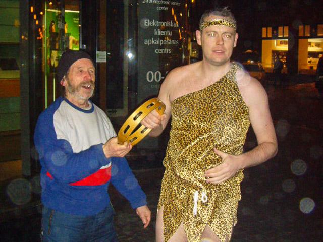 Tarzan and tambourine man on a pub crawl