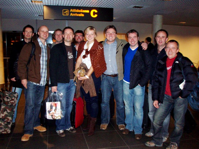 Local guide Elina greeting a group at Riga airport arrivals