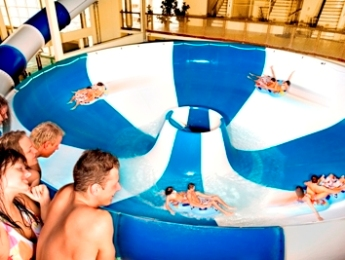 Giant waterslide and whirlpool at the Riga waterpark