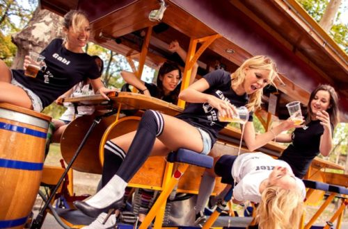 Local guides in Budapest having fun on the beer bike
