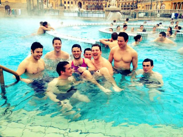 A stag group soaking in the Budapest thermal baths