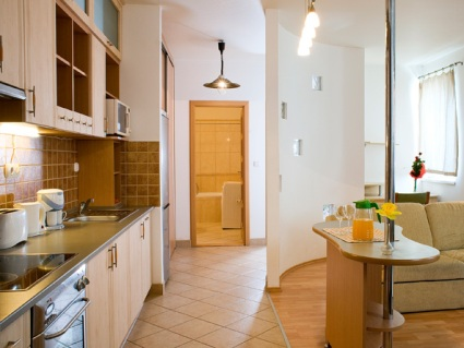 Kitchen and lounge in 3 star Budapest apartment