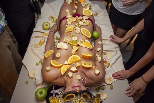 Naked body buffet