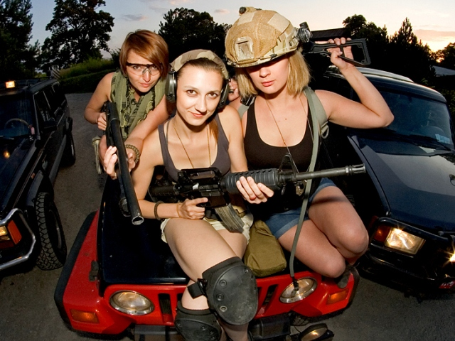 Our lovely local guides on pickup truck at shooting range