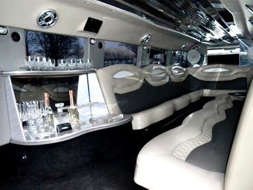 Photo of interior of Hummer limo