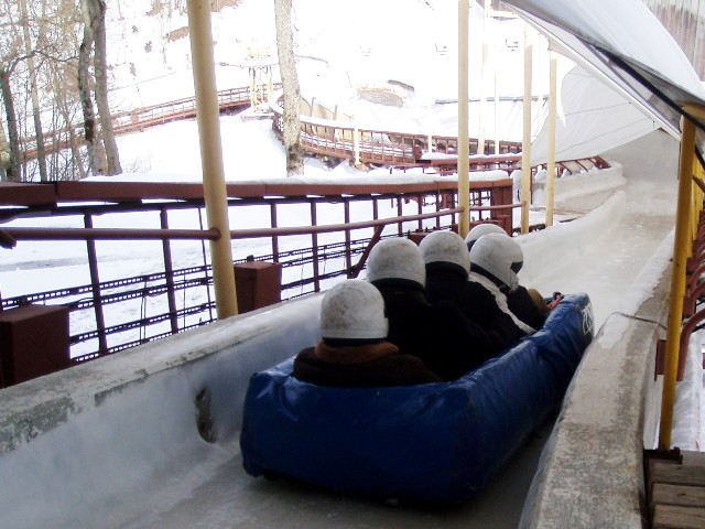 Heading down the winter bobsled track