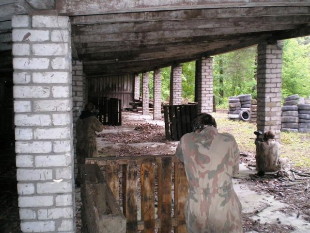 Abandoned building during paintball combat in Riga, Latvia