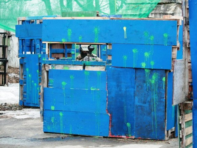 Paint splattered container at Riga paintball venue