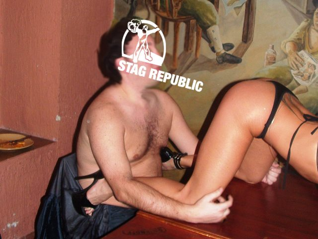 Photo of stripper with stag after dinner