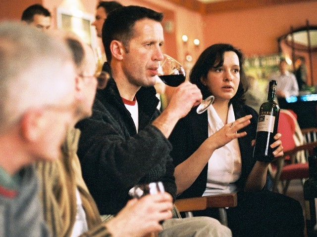Stag group tasting Hungarian wines in a Budapest café