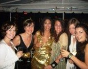 A black and gold themed hen party on a Budapest boat cruise