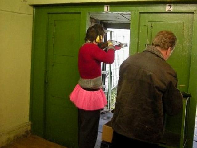Stag in pink tutu at Riga shooting range