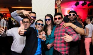 Beautiful local girl with a Budapest stag group in a nightclub