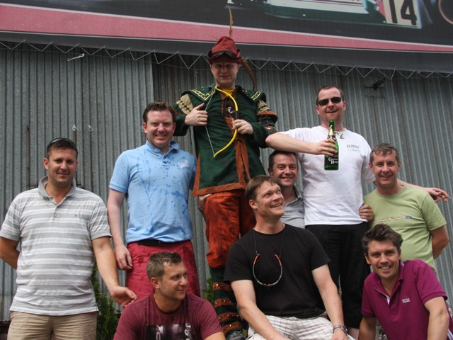 Stag group photo after go karting