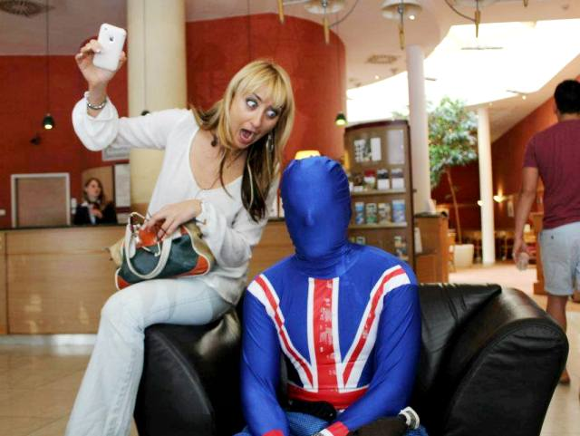 Local Budapest guide Livi making funny face with stag in union jack morphsuit