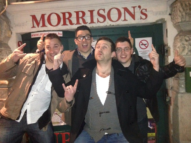 Photo of group in front of Morrison's club in Budapest
