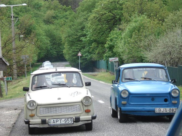 Photo of 2 Trabants next to each other on the road out of Budapest