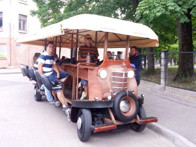 Photo of the beer bike in Riga, Latvia