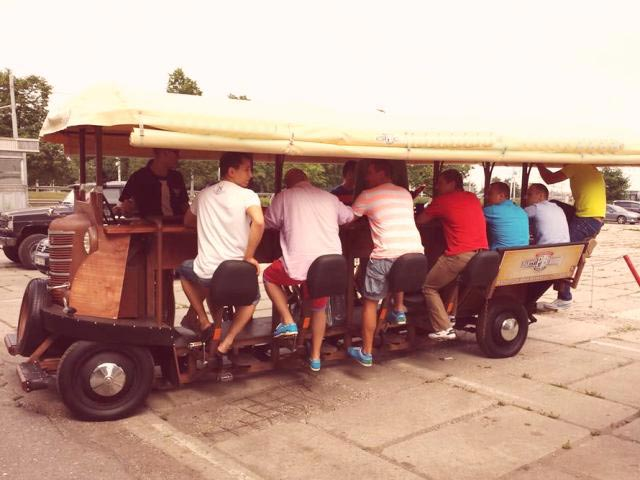 The beer bike at capacity with a large Riga stag group