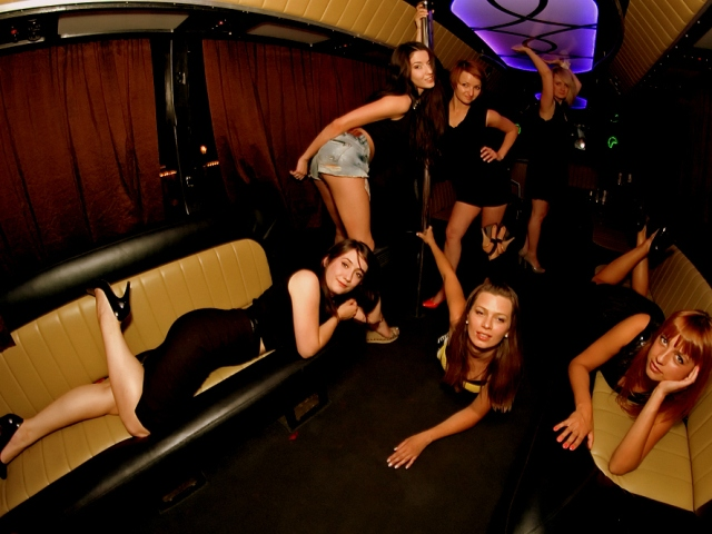 The lovely ladies of Krakow Stag Republic posing on the party bus