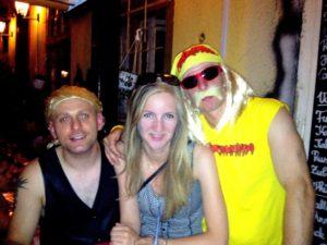 Maria with a stag in Hulk Hogan fancy dress