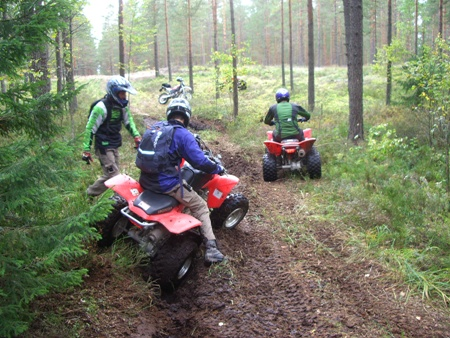 Quading in the forests outside of Riga on a stag do