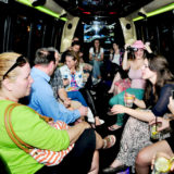 Lots of people having fun inside the Budapest party bus