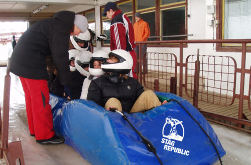 A stag party bobsledding in Riga